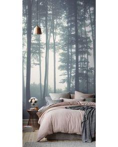 Forest Mural #mural #bedroom #bed #interior #interiors #interiordesign #design #architecture