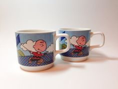 Vintage snoopy mugs, set of 1965 Johnson brothers cups made in England, peanuts, charley brown  on Etsy, $12.50