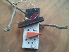 Set of Threewooden lath snowman ornament or gift by MyRusticStyle