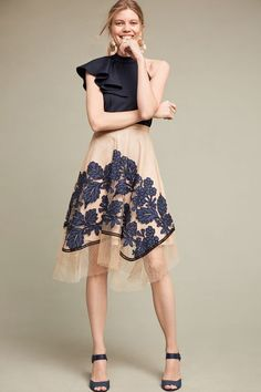 This Floral Netted Skirt from Anthropologie is perfect for the office, happy hour or date night!