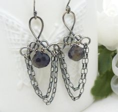 Dark blue iolite earrings, Wire wrapped Sterling silver earrings, Water sapphire earrings, New Zealand jewelry