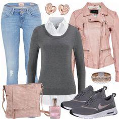 Moderner Look aus rosa Lederjacke, grauen Nike's... #fashion #lifestyle #mode #frauenmode #damenmode #frauenoutfit #damenoutfit #kleidung #shoppen #shopaholic