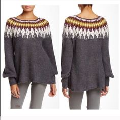 ️Oversized Slouchy  Boyfriend Free People  Sweater Beautiful fair isle detailed Free People sweater tunic pullover . Love the style of this sweater and looks great with denim of leggings . Free People Sweaters