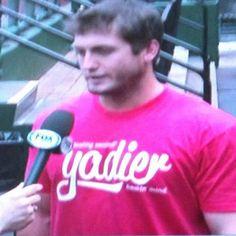 Freese sporting his Yadier freakin mind shirt :))  4-08-13