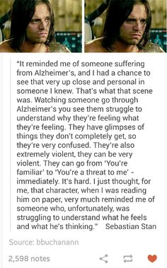 Sebastian talking about this scene and Alzheimer's<---that makes complete sense