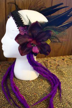 Purple Faery Headdress Festival Tribal by AnmorataDesigns on Etsy