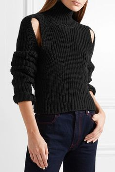 CALVIN KLEIN 205W39NYC - Cropped Cutout Wool Sweater - Black