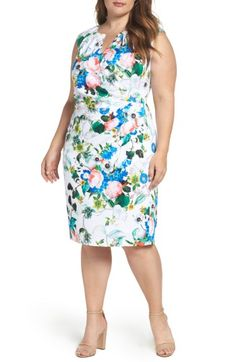 ea3cba0be60 Adrianna Papell Side Pleat Floral Sheath Dress (Plus Size)