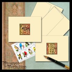 Renaissance Monogram Note Cards / by WrappedToPerfection on Etsy, $13.00