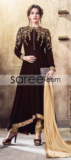 BROWN VELVET SUIT WITH EMBROIDERY WORK #SalwarSuit #SalwarKameez #AnarkaliSuits #StraightCutSuits #CollegeWearSalwarSuits #buyonline #OnlineSalwarSuits #PartywearSalwarSuits #SalwarSuits #Indowestern