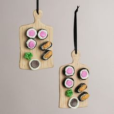 One of my favorite discoveries at WorldMarket.com: Clay Sushi Board Ornaments, Set of 2