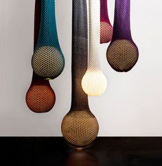 Knitted textiles are not flat anymore.  Lamps with a Knitted Shade by Ariel Zuckerman Photo