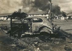 Destroyed car at Pearl Harbor 1941