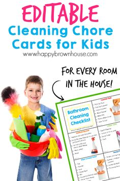 These Cleaning Chore Cards for Kids include everything needed to clean the home with your child's help. Simply print, laminate, and place on a ring for flippable chore task cards. Organize your child's chores with step-by-step task cards and lower mom's n Cleaning Checklist, Cleaning Hacks, Deep Cleaning, Cleaning Supplies, Chore Checklist, Zone Cleaning, Chore List, Organizing Tips, Printable Chore Cards