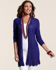 Chico's Travelers Collection Josie Cardigan, choose your basic packing color in BLACK, NAVY or brown...long lines make you appear taller and thinner and longer necklaces help everyone have a vertical look.  Top with a fantastic scarf and go!