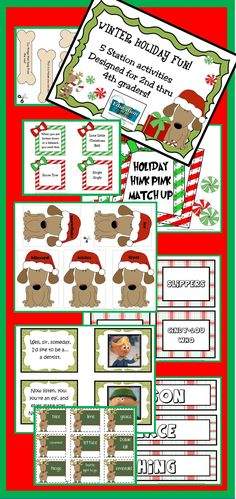 5 Holiday Fun Literacy Station Activities: Christmas and Winter! Challenge your students to stretch their minds while having great holiday fun!  Perfect for a party or use them all month! 5 Literacy Station activities for partners challenges or independent work: - Holiday Hink Pink match - Holiday color sort (Things that are always, green, red, or silver) - Holiday vocabulary/Clue sort - Holiday Character Quotes Matchup - Holiday Nouns (Person, Place or Thing)