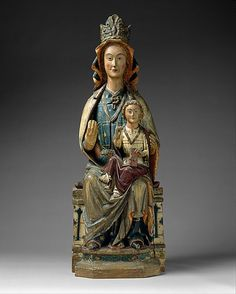 Enthroned Virgin and Child.  Date:     ca. 1280–1300. Geography:     Made in Navarre, Spain. Culture:     Spanish. Medium:     Maple, paint, and gilt.