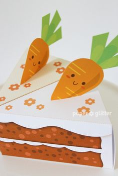 Carrot Paper Cake Slice favor baking party box printables for easter, spring or anytime - Editable Text Printable PDF 1058. $4.50, via Etsy.