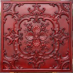 faux tin finishes artistic style antique red ceiling tiles embossed Photography Background panels boards by Fauxpaintceilingtile on Etsy Faux Tin Ceiling Tiles, Tin Tiles, Vitromosaico Ideas, Yard Ideas, Pub Decor, Decorative Wall Panels, Rustic Walls, Reno, Background For Photography
