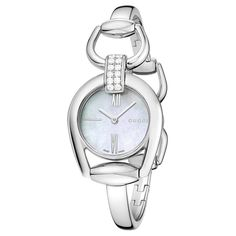 Gucci Women's YA139504 'Horsebit' Diamond-Accented Bangle Watch
