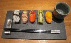 fruit sushi and sake
