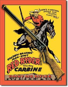 DAISY Red Ryder Gun AIR RIFLE Vintage Cowboy Western Wall Decor Metal Ad Sign