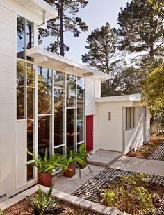 Carmel Mid-Century LEED modern exterior. SUBWAY style glass wall