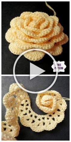 Crochet Flower Tutorial, Crochet Instructions, Crochet Flower Patterns, Crochet Patterns For Beginners, Crochet Designs, Free Crochet Rose Pattern, Rose Tutorial, Crochet Leaves, Crochet Motifs