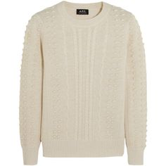 A.P.C. Atelier de Production et de Création Isola textured-alpaca and... (1.215 BRL) ❤ liked on Polyvore featuring tops, sweaters, white, white top, alpaca sweaters, alpaca wool sweater, a.p.c. and slimming tops