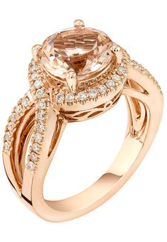 14k Rose Gold Round Morganite & Diamond Halo Ring
