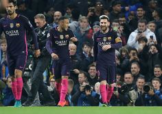 Lionel Messi of FC Barcelona celebrates his goal with Neymar Jr during the UEFA Champions League match between Manchester City FC and FC Barcelona at...