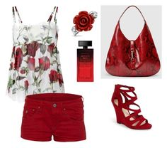 """""""Des Roses Rouges..."""" by lalynany ❤ liked on Polyvore featuring Dolce&Gabbana, G-Star Raw, Bling Jewelry, Gucci, Jessica Simpson and Elizabeth Arden"""