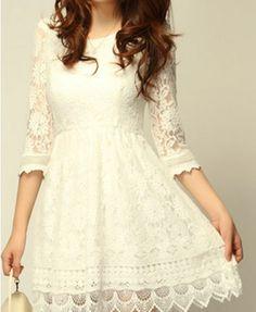 White Cotton Floral Print Lace Dress with Irregular Hem