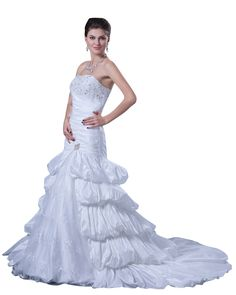lindadress.com Offers High Quality White Taffeta Layered Skirt Strapless Mermaid Wedding Gown With Beading,Priced At Only USD USD $220.00 (Free Shipping)
