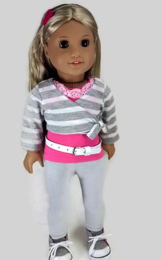 "American Girl Doll Clothes, 18"" Doll Valentine, Pink Tank Top, Leggings, Shrug, Heart Headband and White Belt"