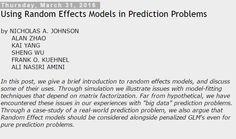 The Unofficial Google Data Science Blog: Using Random Effects Models in Prediction Problems