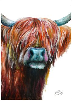 Highland Cow painting Highland Cow print Cattle by LaurieRayeArt Highland Cow Painting, Highland Cow Art, Highland Cattle, Farm Paintings, Animal Paintings, Colorful Paintings, Wow Art, Watercolor Animals, Cow Print
