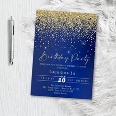 Royal Blue and Gold Birthday Party Invitation, Formal Glitter and Sparkles, Printed or Printable Invites, Sweet 16, Quinceanera, Any Age Sweet 16 Invitations, Baby Shower Invitations For Boys, Elegant Invitations, Printable Invitations, Invitation Design, Invites, Gold Birthday Party, Birthday Party Invitations, Birthday Parties