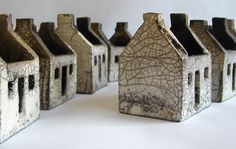 Rowena Brown - Rowena Brown - Ceramic houses, glazed and raku fired. (Inspired by the abandoned dwellings on the islands of St. Clay Houses, Ceramic Houses, Miniature Houses, Ceramic Clay, Ceramic Pottery, Art Houses, Village Houses, Slab Pottery, Pottery Houses