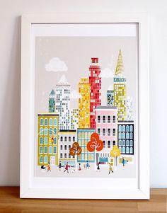 New York : City Art Print / Cityscape Art Print / New York Poster / New York Illustration This New York styled retro art print is an original New York Poster, Wall Art Sets, Wall Art Prints, Poster Prints, Posters, New York Illustration, Retro Illustrations, Travel Wall Art, Cityscape Art