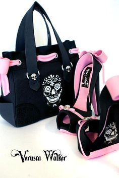 Skull Handbag and shoe - Cake by Verusca Walker