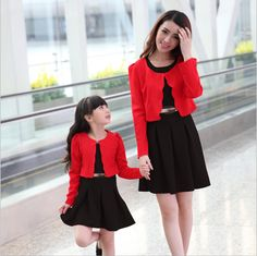 2015 Top Quality 2 Piece Set Dress+Coat Mom And Daughter Dresses Sport Suit Women Mother Daughter Matching Clothes Girl Dress
