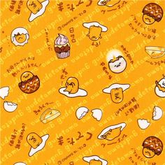orange-yellow Gudetama funny yolk cracked egg laminate fabric Sanrio Japan 1