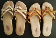 G. H. BASS & Co.SUNJUNS Leather LOT of 2 pair Style-SHARON Thong Sandals SIZE 8  #GHBass #FlipFlops