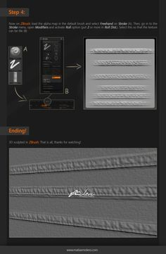 The seams are usually very complicated when working the clothing in ZBrush, because there's very few resources and requires patience. On this quick tutorial you will learn to create your own seam alpha maps from any image or photograph. To create the map we will use: ShaderMap (make the displacement map), Photoshop (work the alpha map), and ZBrush (to apply to a 3D object).