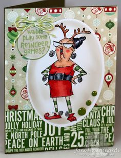 Reindeer Games Set from Art Impressions.  Christmas card.