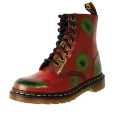 Dr. Martens Leather Classic Pascal 8 eye Boot Red Rub-Off | The Shoe Link