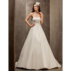 vestido de boda de la princesa una línea de barrido Strapless / cepillo tren satén y tul (560812) - USD $ 127.99