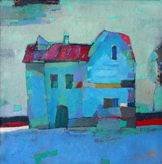 Primitive, one of my favorite styles.   Vladimir Karnachev  The Mysterious Blue House, 2004, oil/board
