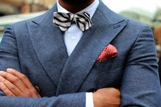 suitsupply pocket square double breasted jacket × striped bow tie